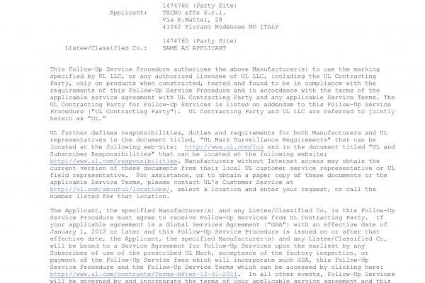 Certificato UL (USA e Canada)